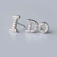 """The asymmetry of the letter """"I DO"""" 925 Sterling Silver CZ Stud Earrings"""