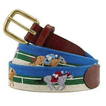 Race Horse Needlepoint Belt by Smathers & Branson