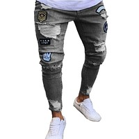 High Quality Men Fashion Applique Ripped Jeans