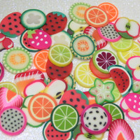 Large polymer clay canes fruit slices big size 60pcs 10mm for decoden scrapbooking crafts collage & art supplies