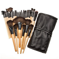 Wood 32Pcs Makeup Brushes Kit Professional Cosmetic Make Up Set + Pouch Bag Case 32PCS