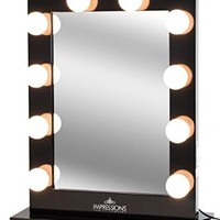 Impressions Vanity Hollywood Studio Lighted Make-Up Vanity Back Stage Mirror, Black, X- Large