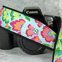 dSLR Camera Strap, Peacock, Teal, Pink, Green, Yellow, Orange,Sky Blue, SLR, 36 w