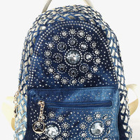 Gold Rhinestone Boho Tapestry Print Backpack