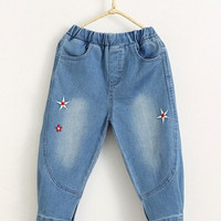 Embroidered Button Hem Elastic Waist Jeans