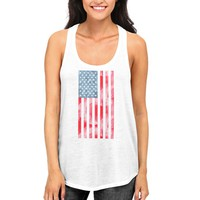 USA American Flag on Women White Tank Top Racerback Tanks on Independence Day