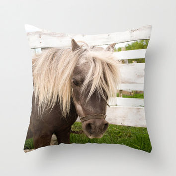Horse Throw Pillow Cover Photography Print Miniature Horse