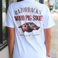 University of Arkansas Campus Hog Tee {White}
