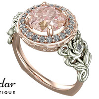 Morganite Engagement Ring,Unique Engagement Ring,Rose Gold Ring,Flower Engagement Ring,Leaves Ring,Vintage Ring,Floral Ring,Halo Ring