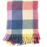Vintage Buffalo Plaid Pastel Throw / Pink, Cream, Yellow, Blue / Fringed Fuzzy, Fluffy Woven Textile