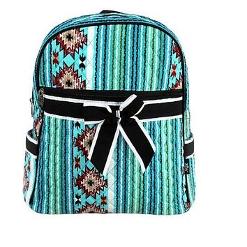 Green Western Print Quilted Backpack
