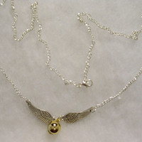 Golden Snitch Gold Ball, Silver Wings & Chain Necklace  - Harry Potter Movies Inspired Novelty/Jewelry/Steampunk