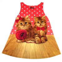 Adorable Kitty Cats Playing with a Ball of Yarn All Over Print Polka Dot Tank Top