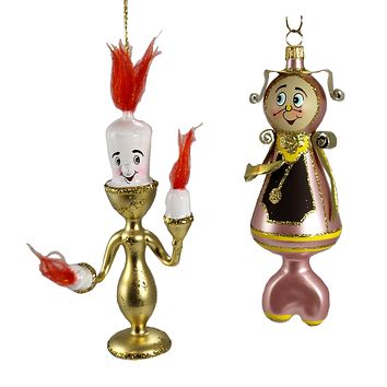 De Carlini Candelabra & Grandfather Clock Ornament Beauty Italian Beast - V3578 & VA3580 SET/2