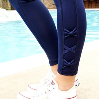 Jadelynn Brooke: Side Bow Yoga Leggings {Navy}