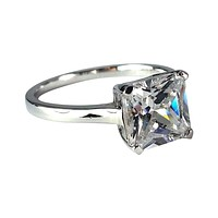 Indira 3CT Princess Cut Solitaire IOBI Simulated Diamond Sterling Silver Platinum Plated Ring For Woman