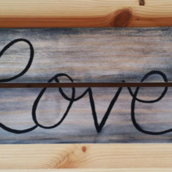 Rustic wood love sign, Hand painted love sign, Rustic home decor, Rustic living room decor, reclaimed wood decor, love wall decor, wall art