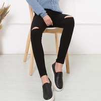 Ripped Elastic Holes Skinny Jeans