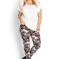 FOREVER 21 PLUS Nature-Inspired Floral Leggings Black/Taupe 1X