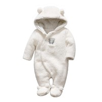 Newborn Baby Girls Boy Clothes Footed Romper Winter Unisex Plush Hooded Bear Infant Jumpsuit Warm Costume