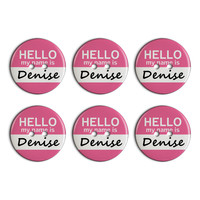 Denise Hello My Name Is Plastic Resin Button Set of 6