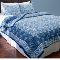 Merle Blue and White Floral Quilt Bedding Set