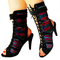 PERUVIAN HIGH HEEL Boots - Custom Made Booties with a touch of Peruvian fabric, Peruvian Textile of your choice
