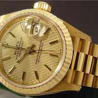 ROLEX Ladies 18kt Gold Tapestry PRESIDENT 79178 SANT BLANC
