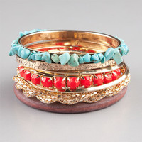 Full Tilt 7 Piece Turquoise/Coral/Wood Bangles Gold One Size For Women 23457162101