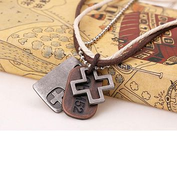Men Leather Cross Dog Tag