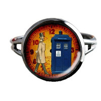 Dr Who Inspired Tardis Ring - Time Lord Clock - Public Police Box Jewelry - Geeky Whovian
