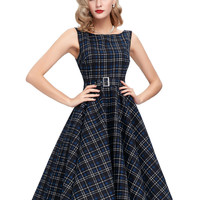 New Women Summer Dress Sleeveless Cotton Short Plaid Striped Party Gowns Pinup 50s 60s Rockabilly Big Swing Dress 2016