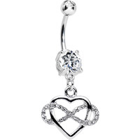 Clear Double CZ Infinite Love Infinity Heart Dangle Belly Ring | Body Candy Body Jewelry
