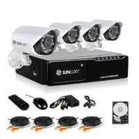 SUNLUXY® CCTV 4 Channel H.264 DVR Recorder 600TVL CMOS Outdoor Home Video Surveillance Security IR Camera System with 500G Hard Drive