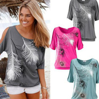 Stylish Women's Summer Short Sleeve Feather Print Ladies Casual Tops T-shirts [4970296644]