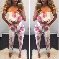 FLOWER POWER CROPPED TOP & PANTS SET