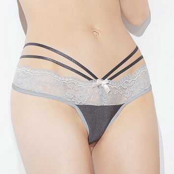 SEXY SILVER LACE THONG SPELLBOUND COQUETTE (CQSB611)