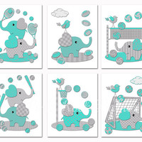 Turquoise grey elephants nursery wall art Baby boy room decor sports poster playroom decoration baseball soccer basketball football toddler
