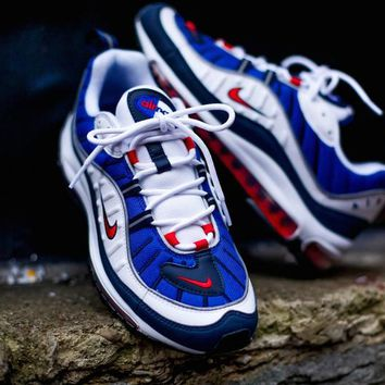 """Nike Air Max 98 Retro Running Shoes """"bLUE WIHTE RED""""640744-064"""