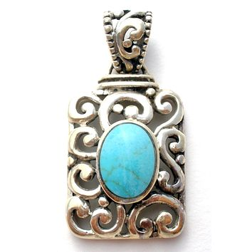 Open Work Sterling Silver Turquoise Pendant