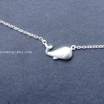 925 Sterling Silver Whale necklace,cute whale Necklace,with sterling silver chain