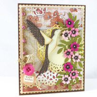 Hummingbird Handmade card, Warm wishes Card, Shabby Chic, Hummingbird Card, Floral CARD, Birthday Card, Cute card Card