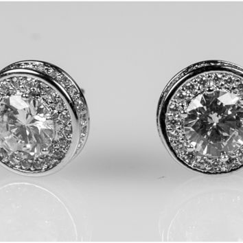 Lunia 11mm Round Halo Stud Earrings | 2.5ct