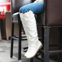 New Women White Round Toe Knee High Casual Boots