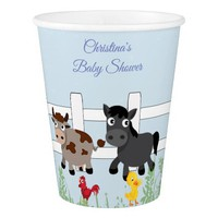 Baby Shower, Farm Animals, Horse, Cow, Custom Paper Cup