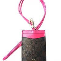 Coach Signature PVC Leather Lanyard ID Badge Holder Case