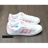 Adidas Stan Smith Fashion Women Men Casual Cartoon Network Surface Breathable Board Shoes Flat Sport Sneakers White/Pink Line I-A0-HXYDXPF