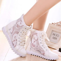 Womens Fashion Wedge Heel Lace Up Mesh Summer Sneakers Trainer Boots Shoes 2015