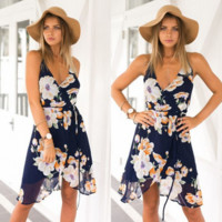 Summer tropical salt lake flowers dress sexy split condole