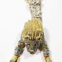 1970s Over the Shoulder Articulated Rhinestone Lion Pin, Gold Tone Sparkling Brooch with Moveable Body, Vintage Wild Cat Jewelry
